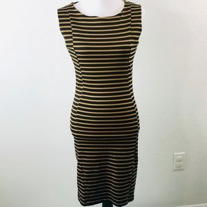 BAR III Body Con Dress Size XL Brown Tan Striped